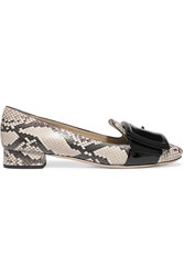 Miu Miu Watersnake And Patent Leather Pumps Snake Print Beige