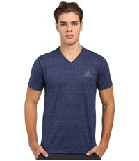 Adidas Ultimate S S V Neck Tee Collegiate Navy Heather Dgh Solid Grey Men's T Shirt Blue