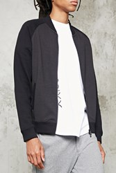 Forever 21 Textured Knit Bomber Jacket Black