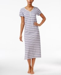 Charter Club V Neck Henley Style Printed Nightgown Only At Macy's Purple Stripe