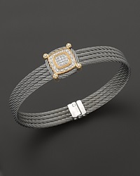 Charriol Classique Collection 18K Yellow Gold And Grey Stainless Steel Nautical Cable Diamond Bracelet
