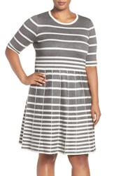 Gabby Skye Plus Size Women's Stripe Fit And Flare Dress