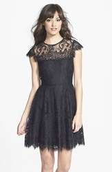 Women's Bb Dakota 'Rhianna' Illusion Yoke Lace Fit And Flare Dress Black