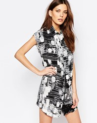 Sisley Floral Print Shirt Dress Black
