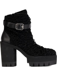 N 21 N.21 Ridged Platform Sole Lace Up Boots Black