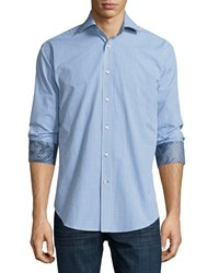 Neiman Marcus Classic Fit Check Sport Shirt Blue