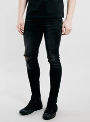 Topman Washed Black Ripped Knee Spray On Skinny Jeans