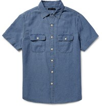 Alex Mill Roadhouse Slim Fit Cotton Dobby Shirt Blue