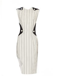 Thierry Mugler Contrast Panel Pinstriped Crepe Dress White