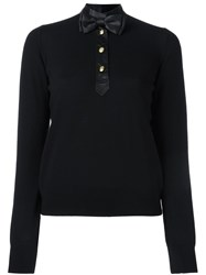 Love Moschino Bow Tie Knitted Top Black