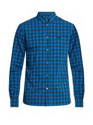 Maison Kitsune Checked Cotton Poplin Shirt Blue Multi
