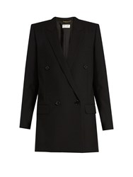 Saint Laurent Peak Lapel Wool Twill Jacket Black