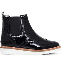 Kg By Kurt Geiger Rocco Patent Leather Brogue Chelsea Boots Black