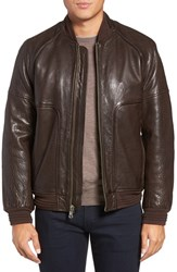 Andrew Marc New York Men's Hughes Lambskin Leather Baseball Jacket With Detachable Genuine Rabbit Fur Lining