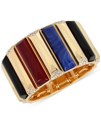 Inc International Concepts M. Haskell For Gold Tone Stone And Pave Rectangle Stretch Bracelet Only At Macy's