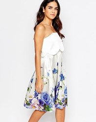 Hope And Ivy Hope And Ivy Floral Babydoll Bandeau Dress White