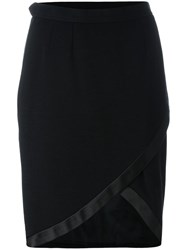 Yves Saint Laurent Vintage Asymmetrical Wrap Skirt Black