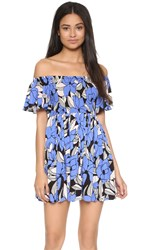 Free People Louise Printed Smocked Dress Blue Combo