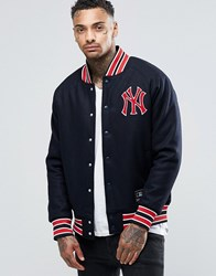 Majestic Yankees Letterman Jacket In Wool Navy