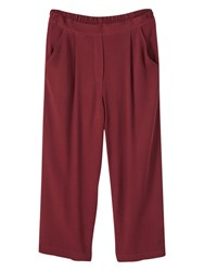 Mango Cropped Trousers Dark Red