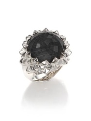 Stephen Webster Superstud Grey Cat's Eye Clear Quartz And Sterling Silver Haze Large Dome Ring Silver Black