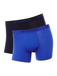 Armani Jeans 2 Pack Of Emporio Logo Boxer Brief Blue