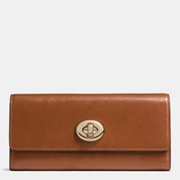 Coach Turnlock Slim Envelope Wallet In Smooth Leather Light Gold Saddle