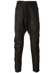 Julius Drop Crotch Slim Trousers Black