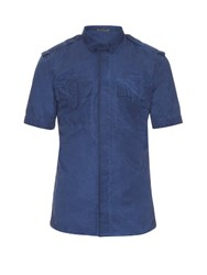 Bottega Veneta Short Sleeved Faded Cotton Shirt Blue
