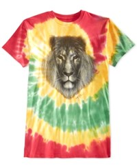 Ring Of Fire Lion Tie Dye Graphic Print T Shirt Rasta