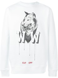 Off White Wolf Print Sweatshirt White