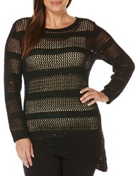 Rafaella Plus Boatneck Long Sleeve Open Knit Sweater Black