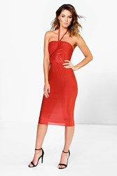 Boohoo Ruched Front Detail Halter Tie Midi Dress Rust