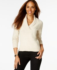 Karen Scott Shawl Collar Long Sleeve Sweater Only At Macy's New Khaki