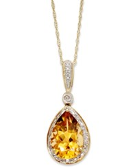 Macy's 14K Gold Necklace Citrine 2 1 2 Ct. T.W. And Diamond Accent Pear Pendant Orange
