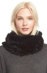 Women's Vince Genuine Rabbit Fur Infinity Scarf Black