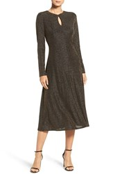 London Times Women's Metallic Knit Midi Dress