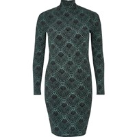 River Island Womens Green Sparkly Turtleneck Mini Dress