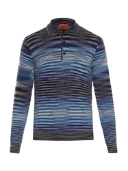 Missoni Striped Fine Knit Long Sleeved Polo Shirt