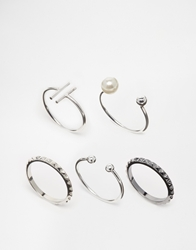 Asos Open Bar And Ball Mix Ring Pack Silver