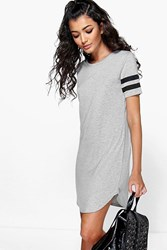 Boohoo Baseball Stripe Curved Hem Shift Dress Grey