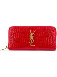 Saint Laurent 'Monogram' Zip Around Wallet Red