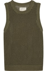 Current Elliott The Rope Stitch Open Knit Cotton Blend Tank Army Green