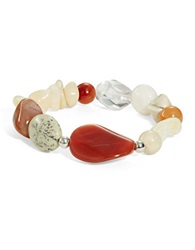 Lord And Taylor Semi Precious Stone And Sterling Silver Stretch Bracelet Red