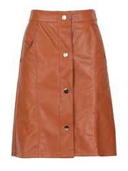 Cutie Buttoned Leather Look Skirt Tan