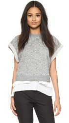 Derek Lam 2 In 1 Rolled Sleeve Top Grey White