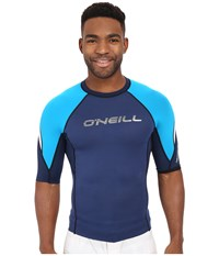 O'neill Hammer Short Sleeve Crew Navy Sky White Men's Swimwear Blue