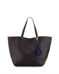 Neiman Marcus Saffiano Faux Leather Tassel Tote Bag Black W. N