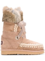 Mou 'Eskimo' Rabbit Fur Trim Boots Nude Neutrals