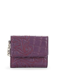 Versace Quilted Leather Wallet Purple